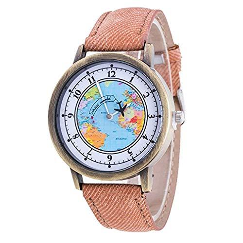 ITVIP - Reloj de pulsera para mujer con diseño de mapa del mundo y avión de escala digital Correa 240mm marrón