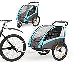 Fiximaster Remorque de vélo pour enfants 2 en 1 avec suspension rotative à 360 ° et frein de stationnement Transpor BT504 Orange