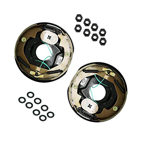 M-Parts 1 Pair 10' X 2-1/4'(10'' X 2.25'') Electric Trailer Brake Assembly for 3,500 lbs Trailer Axles; 1 Left Hand (77-10-1)+ 1 Right Hand (77-10-2); Free Hardware Included