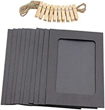 10pcs 3inch Paper Photo DIY Wall Picture Hanging Frame Album+Rope+Clips Set Home Accessories zhengpingpai (Color : Black)