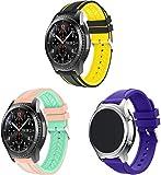 Simpleas kompatibel mit Galaxy Watch 46mm / Watch 3 45mm / Gear Live Armband, Silikon Uhrenarmband Sportarmband (22mm, 3PCS C)