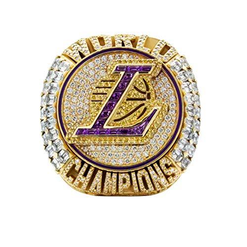 2020 NBA Lakers Campeonato Anillo de baloncesto James 9-13 tamaño Fan souvenirs réplica movimiento anillo extraíble con caja de madera regalo de cumpleaños, 13