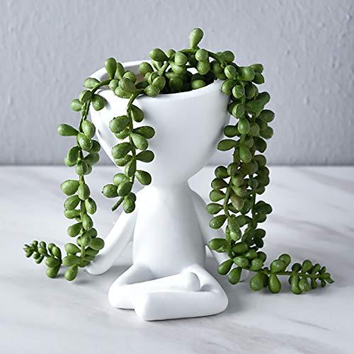 HEWXWX Bonito Retrato de Cerámica Blanca Retrato de una Maceta de Flores, un jarrón de Mesa Colgante de Pared nórdica para la decoración de una terraza en un balcón al Aire Libre,J