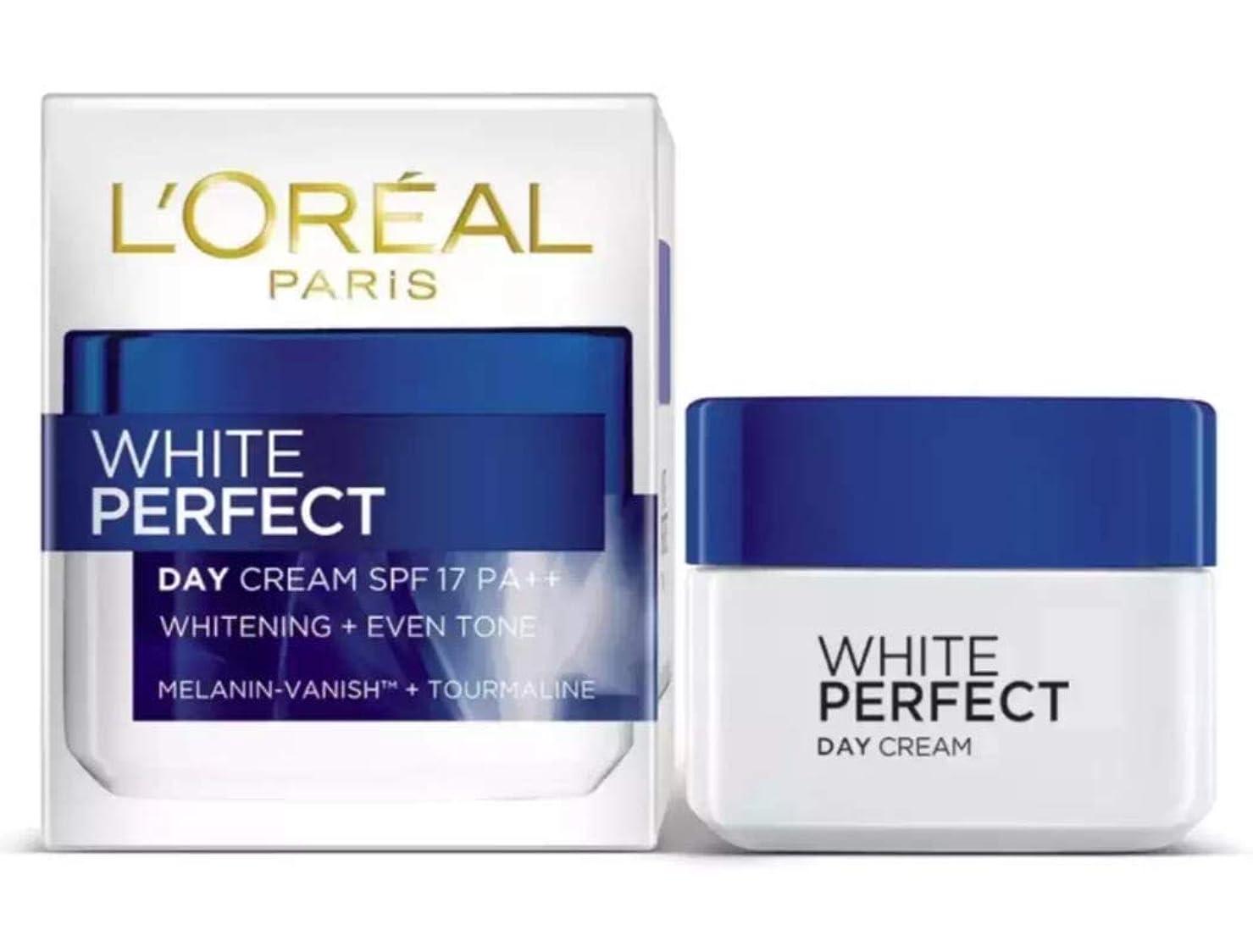 元気な遷移所持L'OREAL PARiS WHITE PERFECT DAY CREAM WHITE+EVEN TONE 【SPF17 PA++】 50ml [並行輸入品]