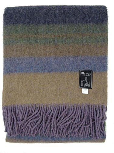 MITOS NATURAL ELEGANCE Manta para sofá Costa, manta gruesa cálida, suave y colorida para el sofá de lana de alpaca y lana virgen Colores: mezcla de gris, beige, marrón y rojo.