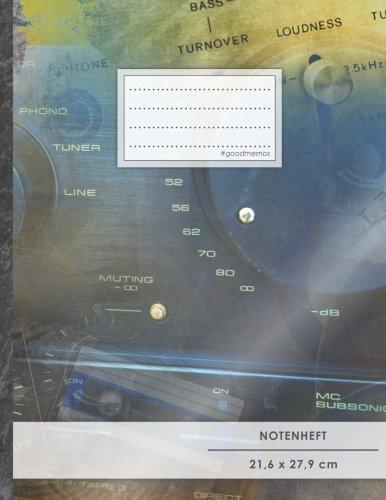 """Notenheft: DIN A4 • 48 Seiten, 24 Blatt, 12 Systeme, """"Stereoanlage"""" • Original #GoodMemos Schulheft • Mit Inhaltsverzeichnis und Seitenzahlen, Noten-Lineatur 14"""