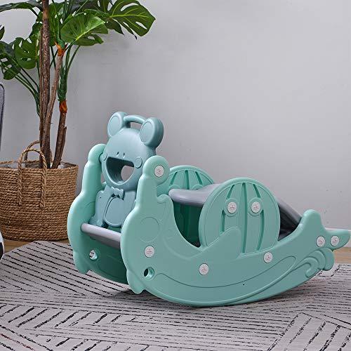 すべり台 滑り台 3in1 木馬 乗り物 幼児用 ブランコセット バスケットゴール コンパクト 室内遊具 屋外遊具 誕生日プレゼント (ミント)