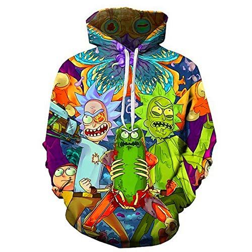 CHENMA Men Funny Cartoon Cosplay 3D Print Pullover Hoodie Sweatshirt with Front Pocket