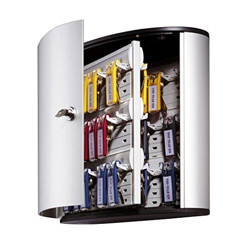 DURABLE Key Box with Key Lock, Holds 54 Key Tags, 11 x 11-3/4 x 4-5/8 Inches, Brushed Aluminum (195323) Photo #3