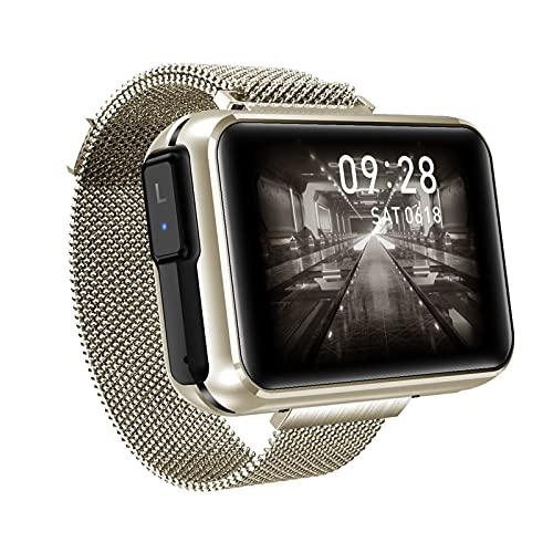 Rvlaugoaa Bluetooth 5.0 Reloj Inteligente Auriculares inalámbricos duales 2 en 1 Rastreador de Ejercicios Pulsera Deportiva IPX6 Reloj Inteligente a Prueba de Agua para teléfonos iPhone/Android