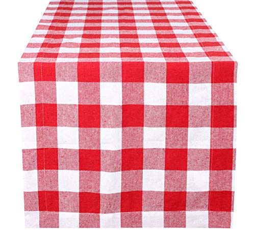 Buffalo Check Table Runner 72 inch In 100% Cotton Fabric,Plaid check Table Runner,Farmhouse Table Runner,Rustic Bridal Shower Decor Table Runner,Wedding Table Runner-16x72 Red/white Set of 2
