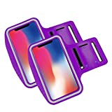 Brazalete movil Running Pack 2 uds Compatible con Todos los telefonos moviles de hasta 6.8' Pantalla Funda movil para Correr Brazalete Deportivo movil Porta movil Running Violeta