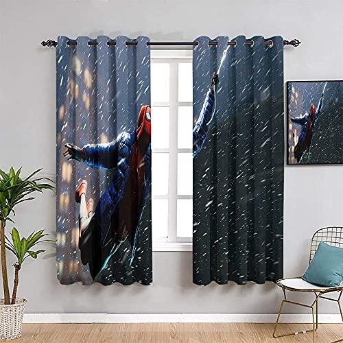 YHML Spid-er Man - Cortinas extralargas para hombre (114 cm de largo, 114 cm), diseño de hombre millas morales