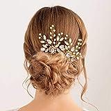 Handcess - Juego de 2 horquillas para el pelo de boda con diamantes de imitación plateados, accesorios para el cabello para mujeres y niñas (paquete de 2 unidades), color dorado