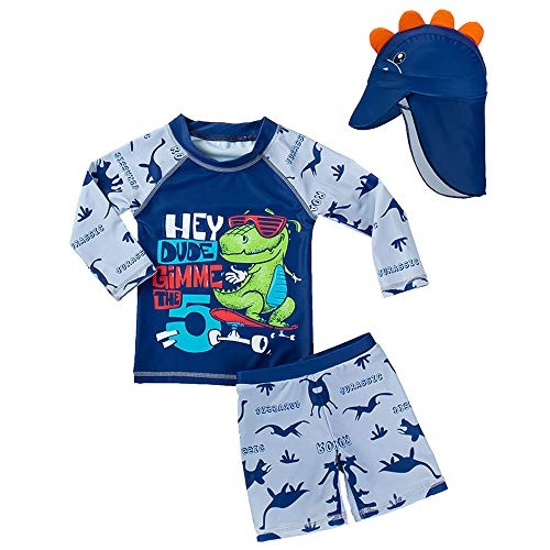 Baby Toddler Boy Two Pieces Swimsuit Set Shark Dinosaur Crocodile Crab Bathing Suit Rash Guards with Sun Hat UPF 50+ Sunglasses Dinosaur (4-5 Years)