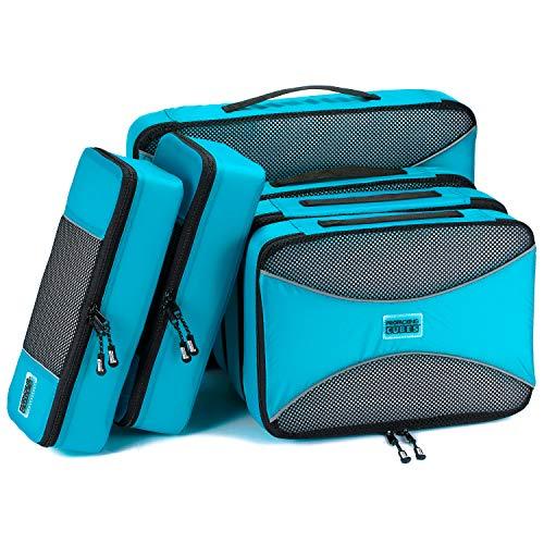 PRO Packing Cubes Packwürfel - 6-Stück Koffer Organizer Set für Organisiertes Packen Ihres Reise Gepäck. Federleichte Packtaschen für Rucksack, Koffer und Kleidertaschen - Aqua Blue