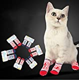Stock Show Pet Dog Cat Stripe Socks with Anchor Pattern Decor, Anti Slip Bottom Warm Cotton Paw Protectors for Indoor Wear, Set of 4Pcs, Red