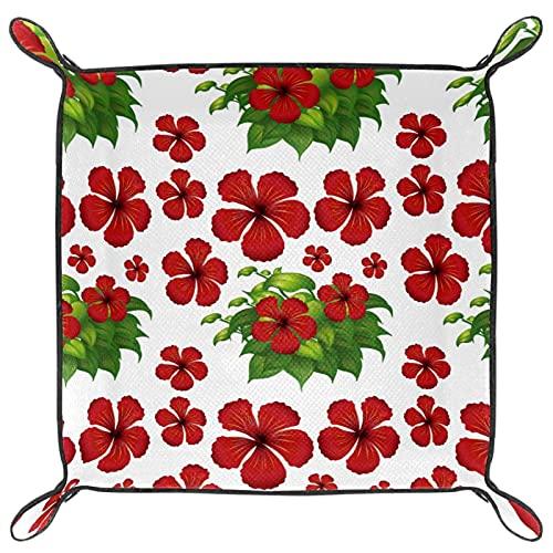 Bandeja de valet para almacenamiento de escritorio, caja de reloj de piel sintética, monedero para cambio de moneda, bandeja para llaves, flores de hibisco rojo, hojas verdes