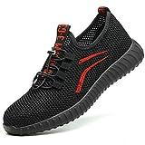 SUADEEX  Sicherheitsschuhe Herren Damen Arbeitsschuhe S3 Leicht Sportlich Atmungsaktiv Schutzschuhe Stahlkappe Sneaker, 35 EU, 02 Rot