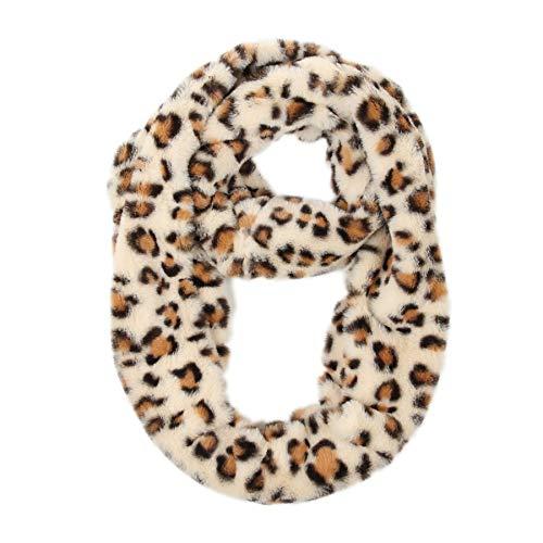 soul young Mujer Leopardo Impresión Invierno Bufanda de punto Cuello redondo para Señora otoño invierno(Blanco Leopardo)