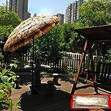 NWM Ombrellone Hawaii Ombrellone Ombrello in Paglia Naturale Intrecciato con Funzione di Inclinazione, Adatto per Terrazza/Giardino/Piscina, Bianco