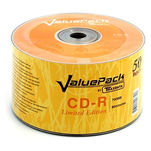 takestop Confezione da 50 Compact Cd Cd-R 52X 700 MB Multispeed Stampabili Printable
