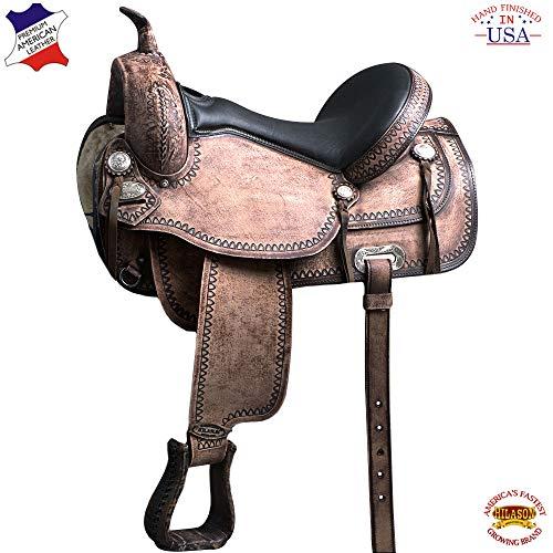 HILASON 15 in Flex Tree Western Horse Saddle American Leather Trail
