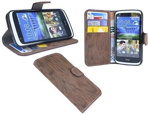 ENERGMiX Buchtasche kompatibel mit HTC Desire 526G Hülle Hülle Tasche Wallet BookStyle mit Standfunktion in Braun