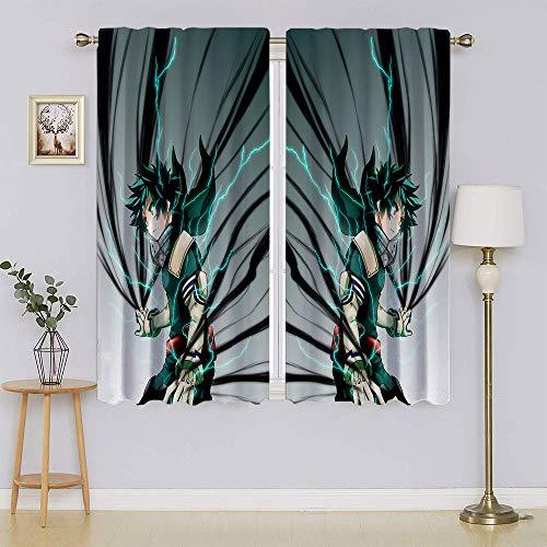 Deku Poster My Hero Academia - Cortinas opacas térmicas, filtro de luz de bajo consumo, cortinas adorables y viables para dormitorio (63 x 45 pulgadas)