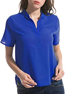 CRYYU Women's Plus Size Short Sleeve Slim Fit Solid Color Chiffon V-Neck Top T-Shirt Blouse