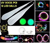 LED GLOW Sock Poi (SLOW FADE) Pair of Quality Stretchy Lycra Spinning Poi Socks + 2x LED GLOW Balls + Travel Bag!