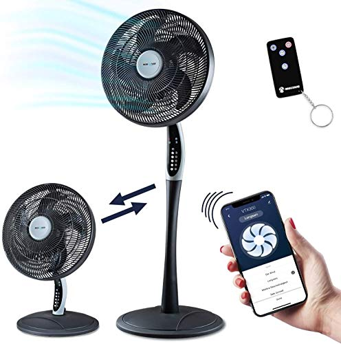 2in1 Standventilator extra leise| Smarte Tuya App + Amazon Alexa + Google Assistant |VTX300 55W Tisch-Ventilator mit Fernbedienung & Display fürs Schlafzimmer | RelaxxNow Air Conditioner + in Mini…