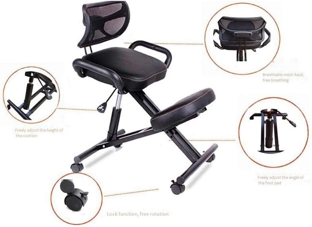 HUXIUPING Genoux Chaise Bureau Chaise de Bureau Chaise Chaise Ergonomique réglable Ordinateur Hauteur avec Fauteuil Roulant avec Coussin Dossier (Color : Blue) Black