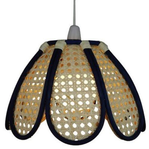 Lighting Web Company Abat-jour dôme en bambou-Tulip-Bleu-canne avec Panneaux Naturel