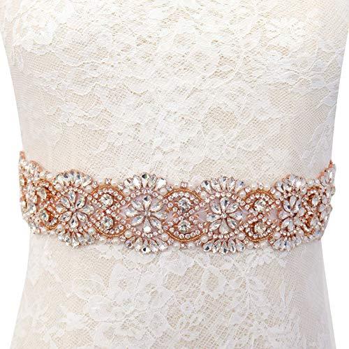 Pardecor Wedding Belt Rhinestone Belt Bridal Wedding Dress Sash Rose Gold Trim Wedding Sash Rhinestone Applique Dress Belt Crystal Applique Sash Belt Bridal Accessories