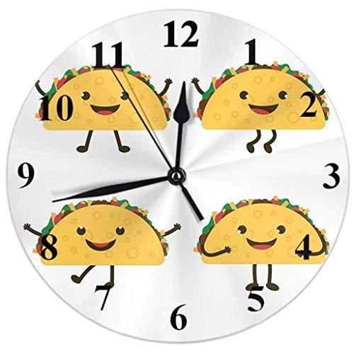 Reloj de Pared Reloj de pared México Comida rápida de dibujos animados Tacos Grimamientos sonríe Smiles Smiles Reloj Redondo silencioso Non Ticking Decoración de la casa 10 pulgadas for la sala de est