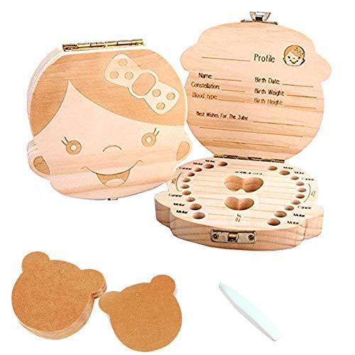 Caja de dientes para-caja de dientes de leche de bebé de madera maciza, caja de recolección de pérdida de dientes de leche de niño/niña, caja de recuerdo, el mejor regalo para bebés (girl)
