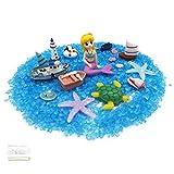 JJQHYC Jardín de Hadas Micro Paisaje Decoración Sirena Faro Arena Azul Maravilloso Estilo de Playa de Verano