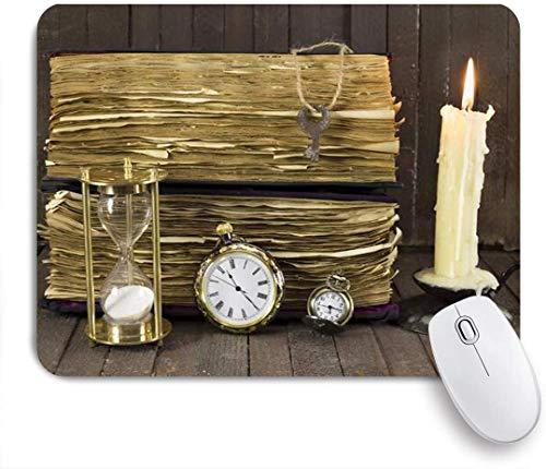 Benutzerdefiniertes Büro Mauspad,Kreative Persönlichkeit Stimmung Papier Sanduhr Tisch Kerze Uhr Schlüssel aus Holz,Anti-Slip Rubber Base Gaming Mouse Pad Mat