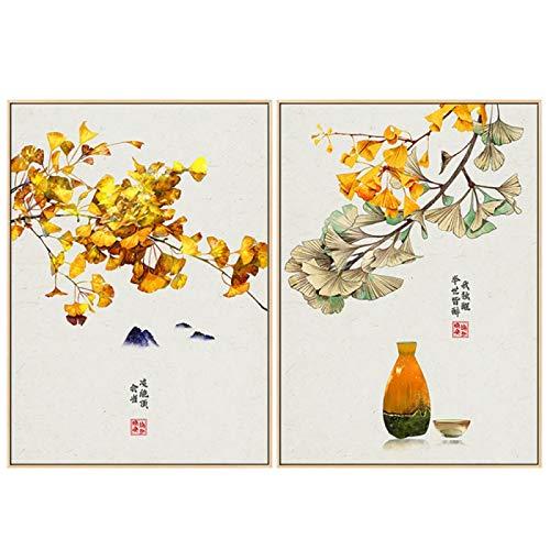 BFSA Impresión en Lienzo Cartel de Paisaje japonés Barco Linterna Hojas Pintura...