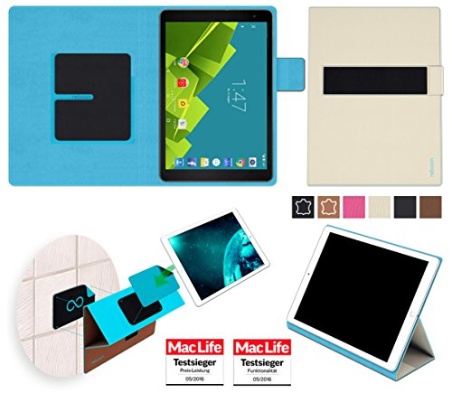 reboon Hülle für Vodafone Tab Prime 6 Tasche Cover Hülle Bumper | in Beige | Testsieger