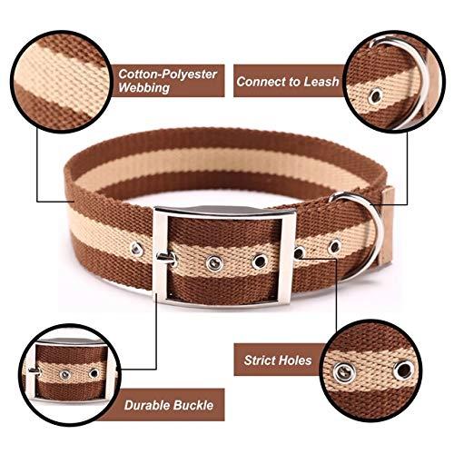 K9 CARNIVORE Cotton Series Dog Collar   Adjustable, Premium, Heavy Duty, Durable, Strong Training Collar… (Brown/Tan)