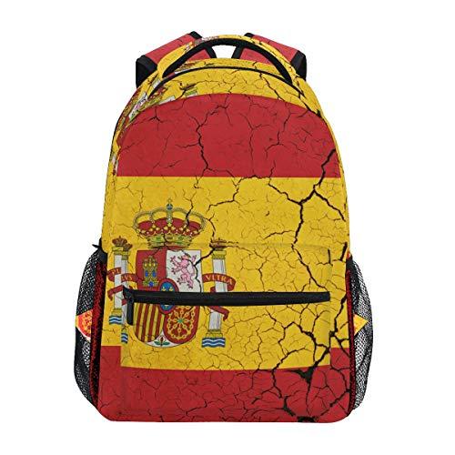 Mochila retro de la bandera de España para estudiantes, escuela, viajes, senderismo, camping, portátil, mochila
