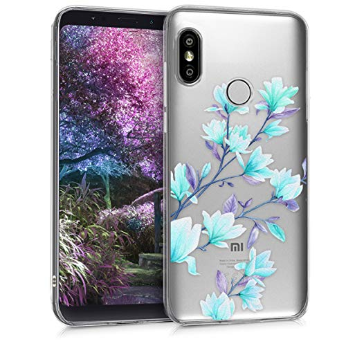 kwmobile Coque Compatible avec Xiaomi Redmi S2 / Redmi Y2 - Housse Protectrice pour Téléphone en Silicone Magnolias Bleu-Violet-Transparent