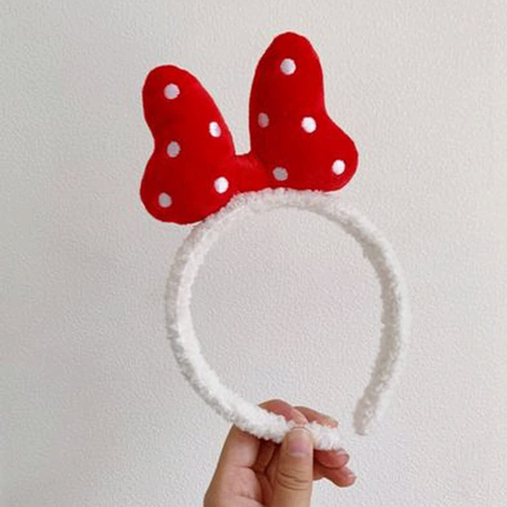 Polka Dot Bowknot Headband Washing Face Makeup Hairband Cute Hairband Female All-match Outbound Bundled Hairpin (Color : B)