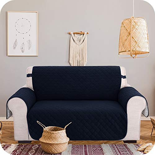 UMI. by Amazon Sofa Protectors 2 Seater with Side Pockets Love Seat Cover Non-Slip Furniture Covers for Sofa with Strap, Washable Sofa/Chair Cover 2 Seater Navy Blue