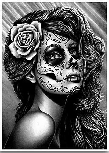 diamond painting bianco e nero Kit fai da te 5D per pittura a mosaico con teschio bianco e nero con strass