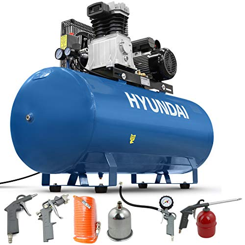 Hyundai 200L 3HP Air Compressor, 14CFM, 145PSI, Belt Drive Air Compressor, 2.2kW, Large Air Compressor, Includes 5 Piece Accessories Kit, 2 Year Warranty, Blue
