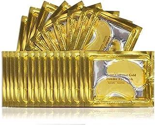 Masque pour les Yeux au Collagène en Gel en Poudre D'or 24K Crystal 25 paires,Anti-âge et Rides, Hydratant, pour éliminer ...
