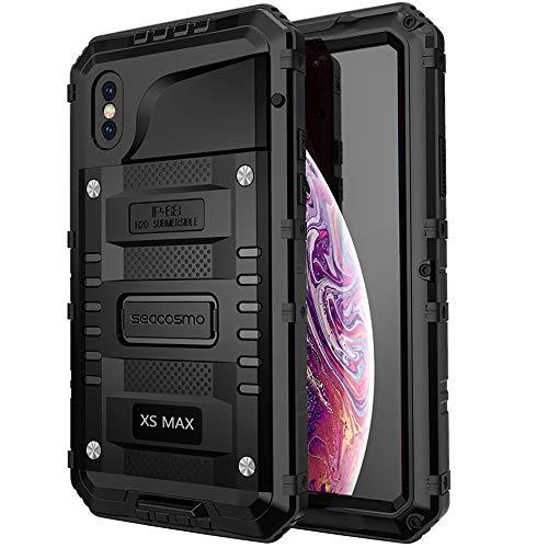 seacosmo Cover iPhone XS Max, [Waterproof] Custodia Impermeabile Corpo Completo con Protezione Incorporata dello Schermo per iPhone XS Max, Nero